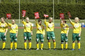 "in Women League, FC Ilves has played against PuiU. This game was an SRTRC game by introducing a SRTRC to fans and players. FC Ilves has made a campaign with FiMu and will play all ""Naisten SM-Sarja"" games with SRTRC logo in player's shirts ."